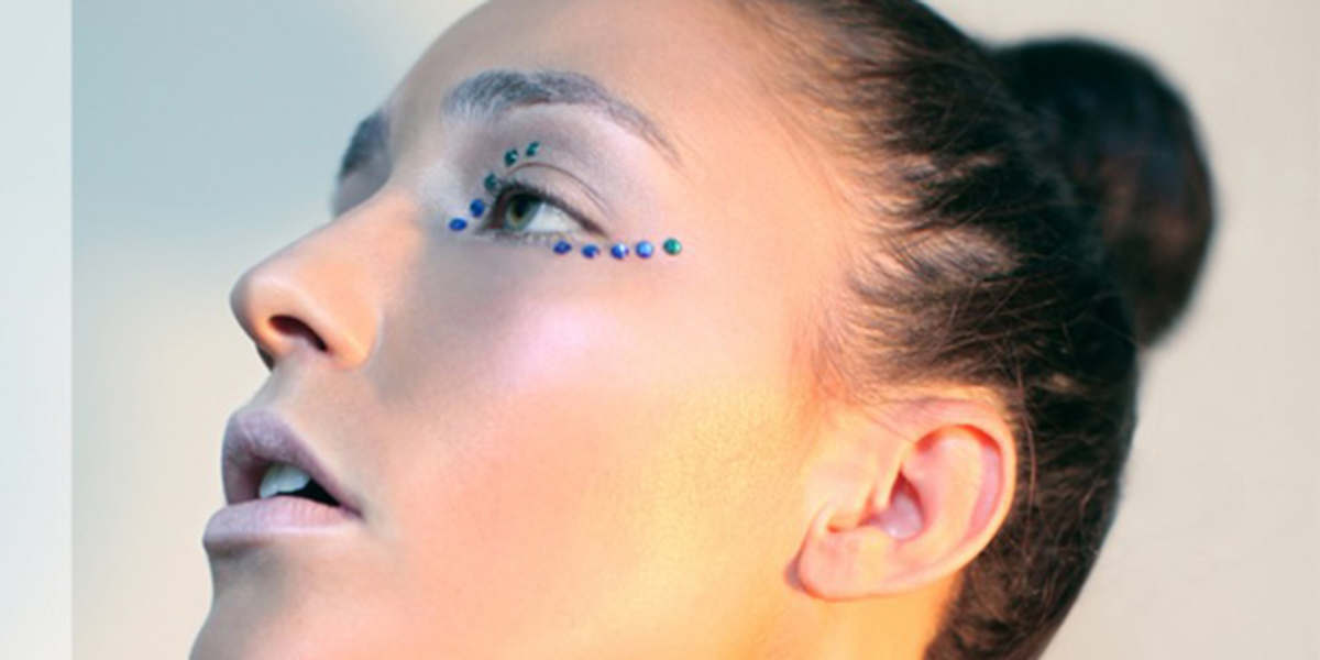 beauty editorial, makeup and rhinestones