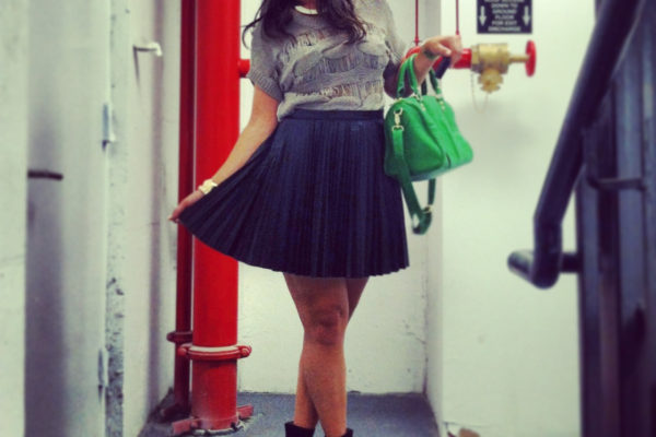 pleated-leather-skirt-sweater-wedge-heels