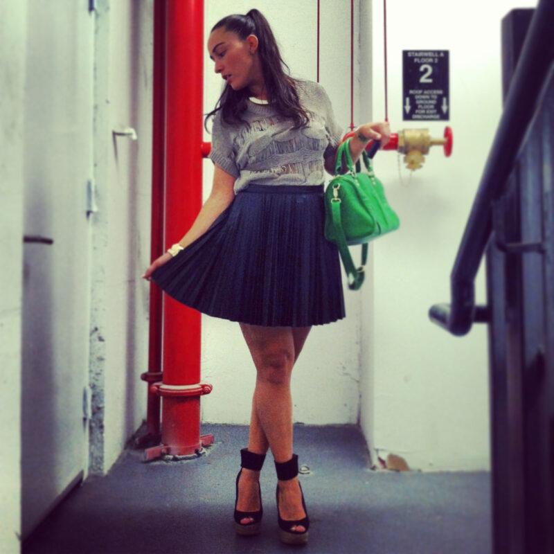 pleated-leather-skirt-sweater-wedge-heels