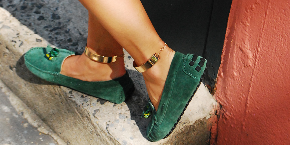 green loafers gold ankle cuffs