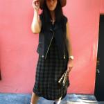 h&m, felt hat, target, flannel dress, blue booties