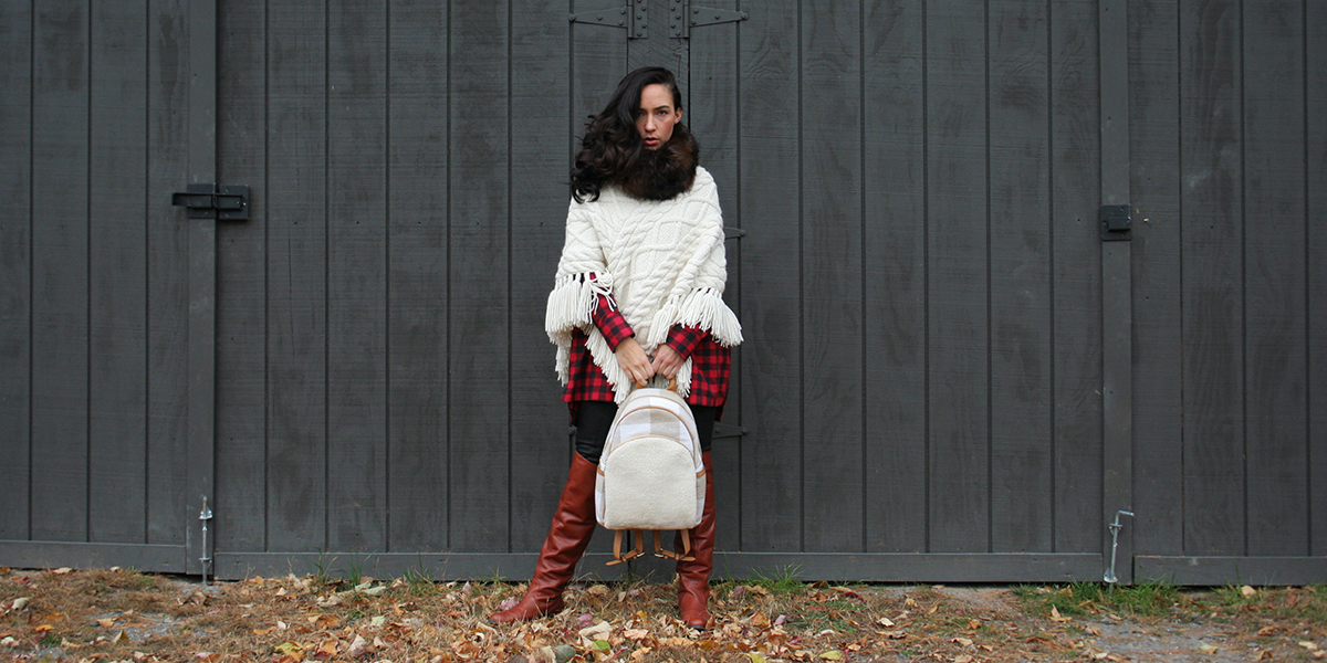 knee high boots, flannel, knit shawl
