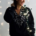 christmas lights and chandelier sweater