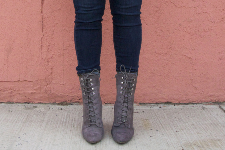 gray lace up booties