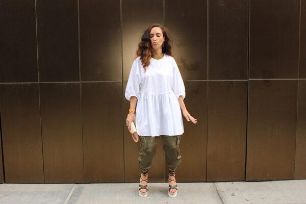 green-silk-pants-white-zara-poplin-dress-ootd