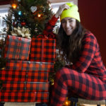 christmas-outfit-matching-plaid-pajamas-and-wrapping-paper