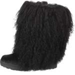 black-furry-boot